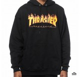 thrasher flame hooded sweatshirt black