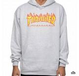 thrasher flame hoodie sweatshirt grey